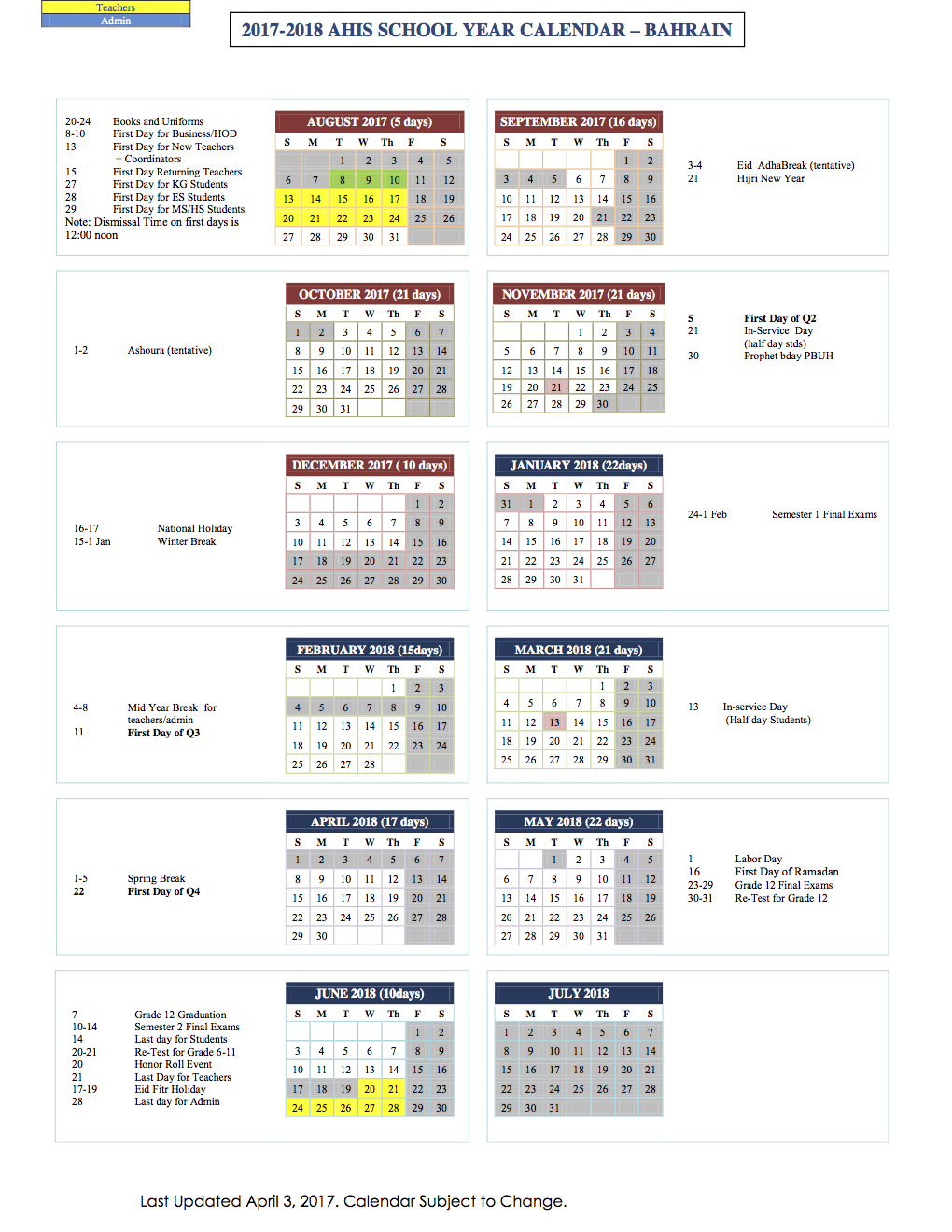 Al Hekma International School 2017 2018 Calender